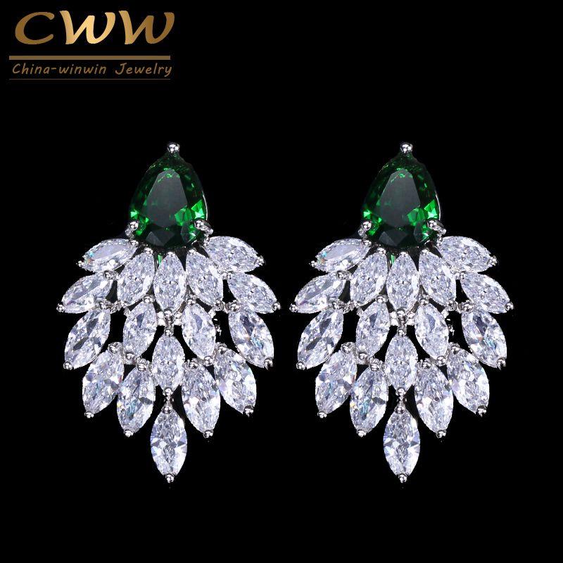 Cwwzircons 2017 joyería de la marca del diseñador de moda noble blanco cubic zirconia pavimentado largo verde grande CZ Pendientes para las mujeres cz292