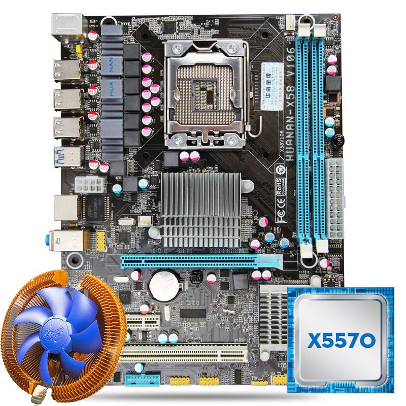 HUANAN USB3.0 X58 motherboard CPU combos with cooler X58 LGA1366 motherboard Xeon X5570 CPU RAM dual channel All tested