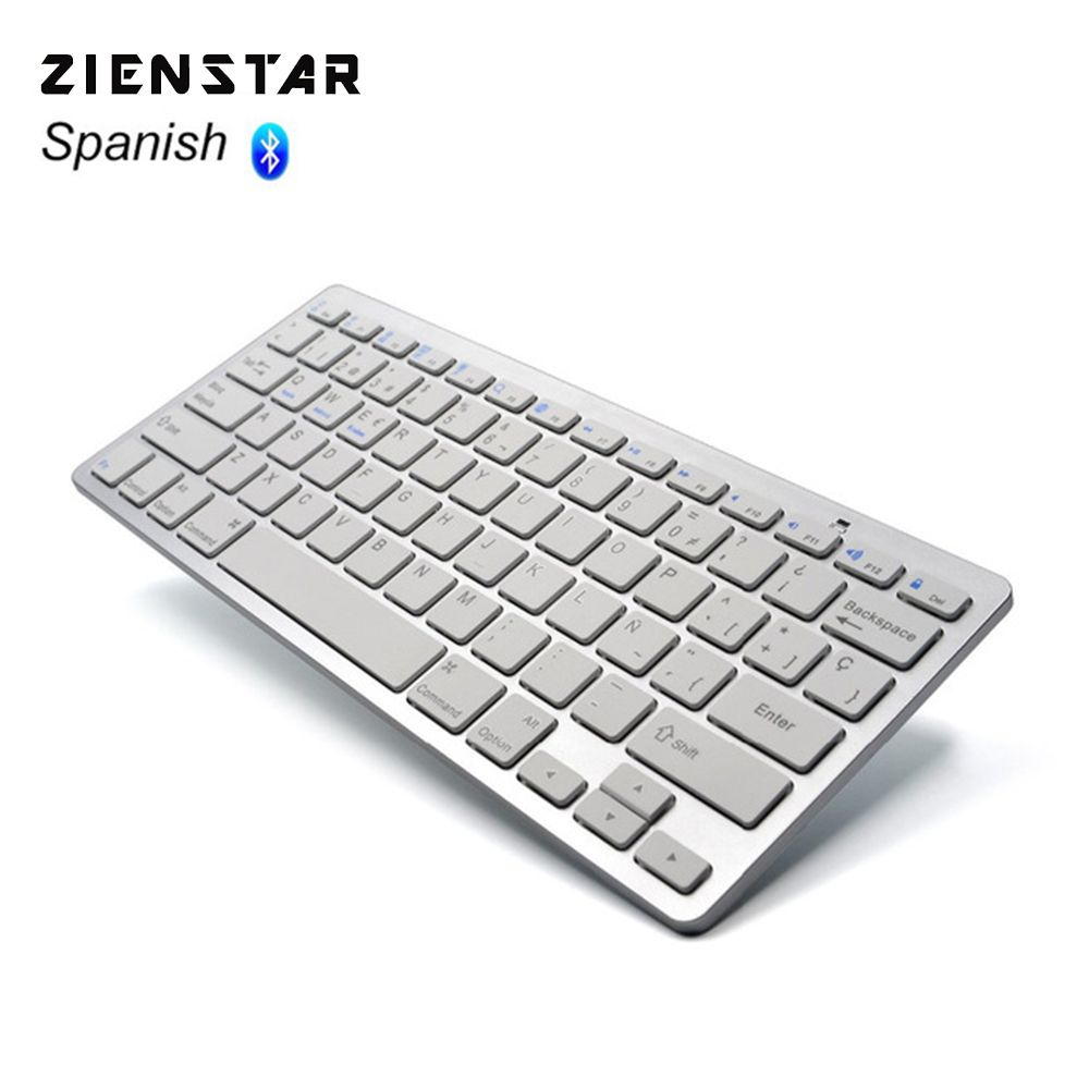 Zienstar Espagnol Langue Ultra mince Clavier Sans Fil Bluetooth 3.0 pour ipad/Iphone/Macbook/PC ordinateur/Android tablet