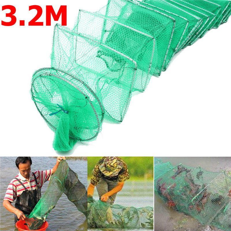 Bobing 3.2m Nylon Fishing Net Diameter 18cm Long Tube Crayfish Eel Shrimp Crab Lobster Trap Bait Fishing Pot Cage Fishing Net