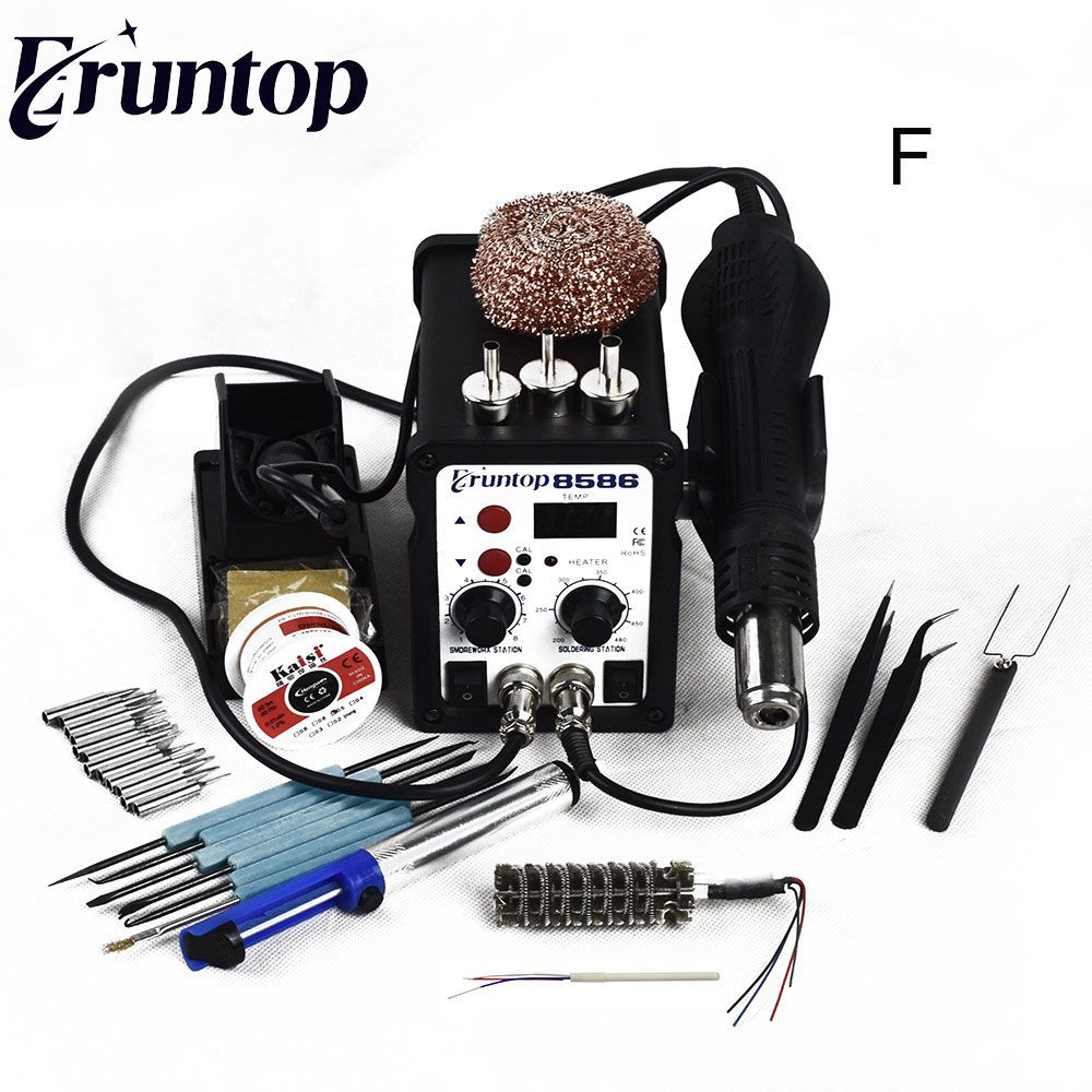 700W High Quality Eruntop 8586 2 in1 Rework Station Hot Air Gun + Solder Iron
