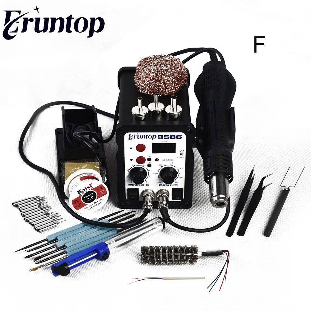 700W High Quality Eruntop 8586 2 in1 Rework Station Hot Air Gun + Solder Iron