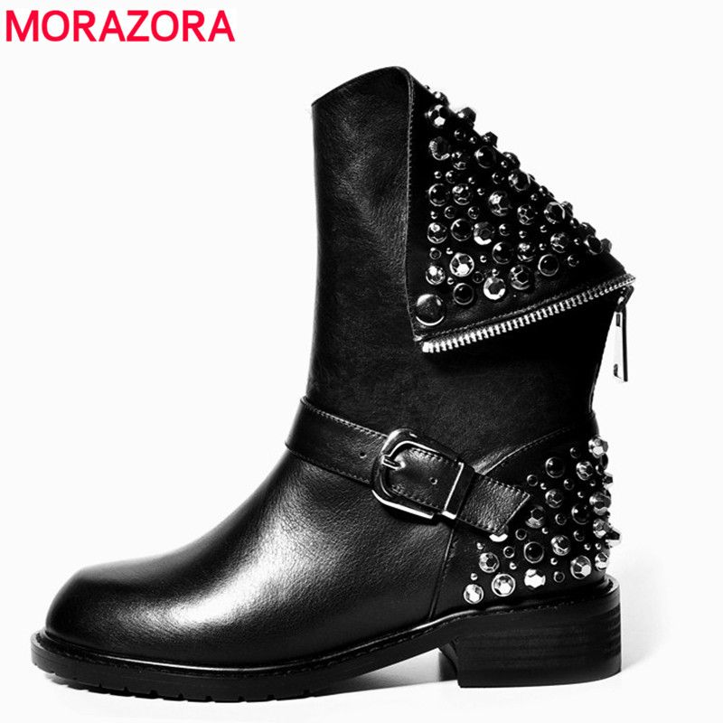 MORAZORA 2018 New arrival PU+Genuine leather boots rivets autumn winter ankle boots for women sexy female motorcycle snow boots