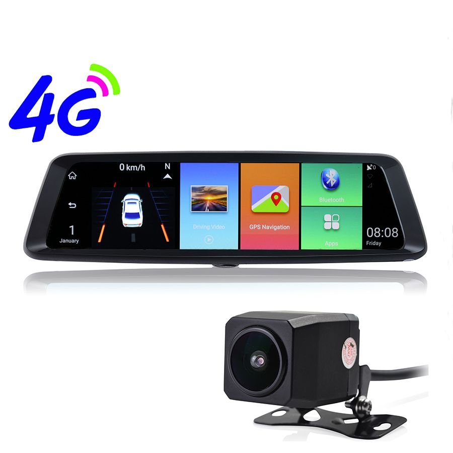 Udricare 10 inch 4G Android WiFi Bluetooth ADAS GPS Navigation Streaming Video Recorder 1080P Dual Lens DVR Rear View Mirror GPS