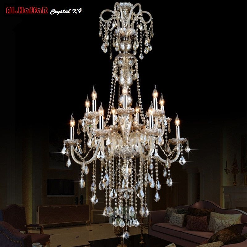 Large Long Chandelier Crystal led Pendant Chandelier Lights Fixtures Hotel Crystal Lighting Lamp Staircase Long chandelier Light