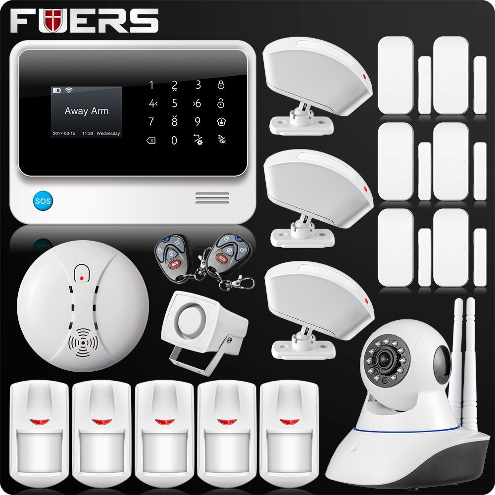 2018 New Arrival G90B Plus 2.4G WiFi GSM GPRS SMS Wireless Home House Security Intruder Alarm System IP Camera