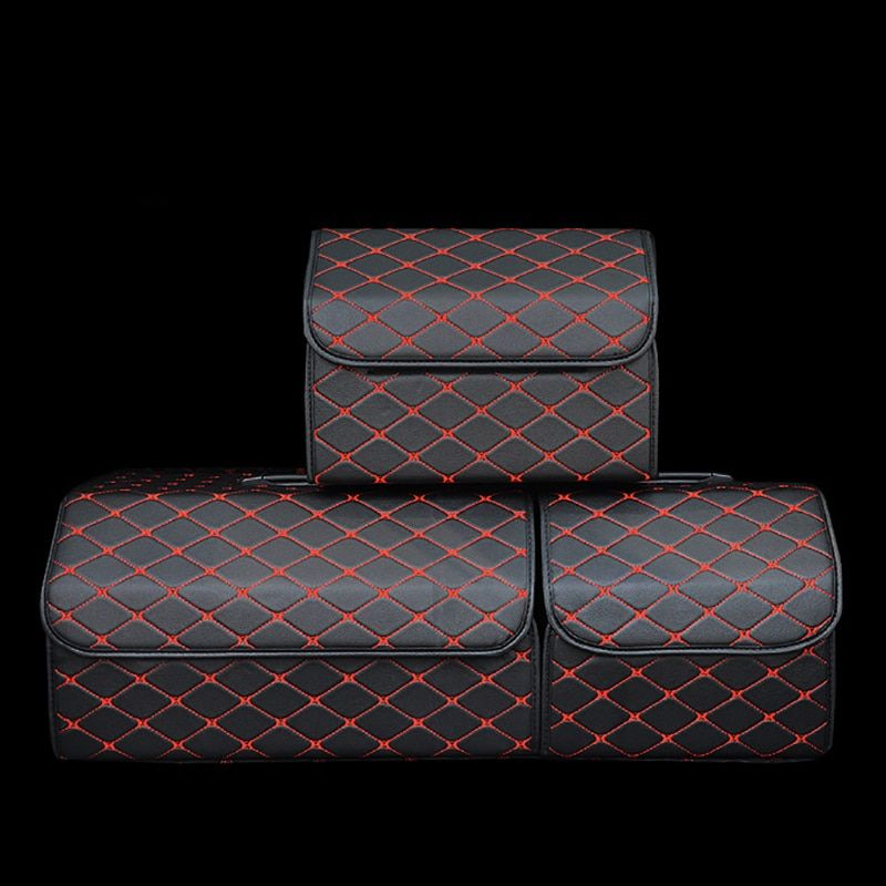 Collapsible Car Trunk Storage Bag Organizer with Lid Portable Car Storage Stowing Tidying PU Leather Auto Trunk Box Organizer