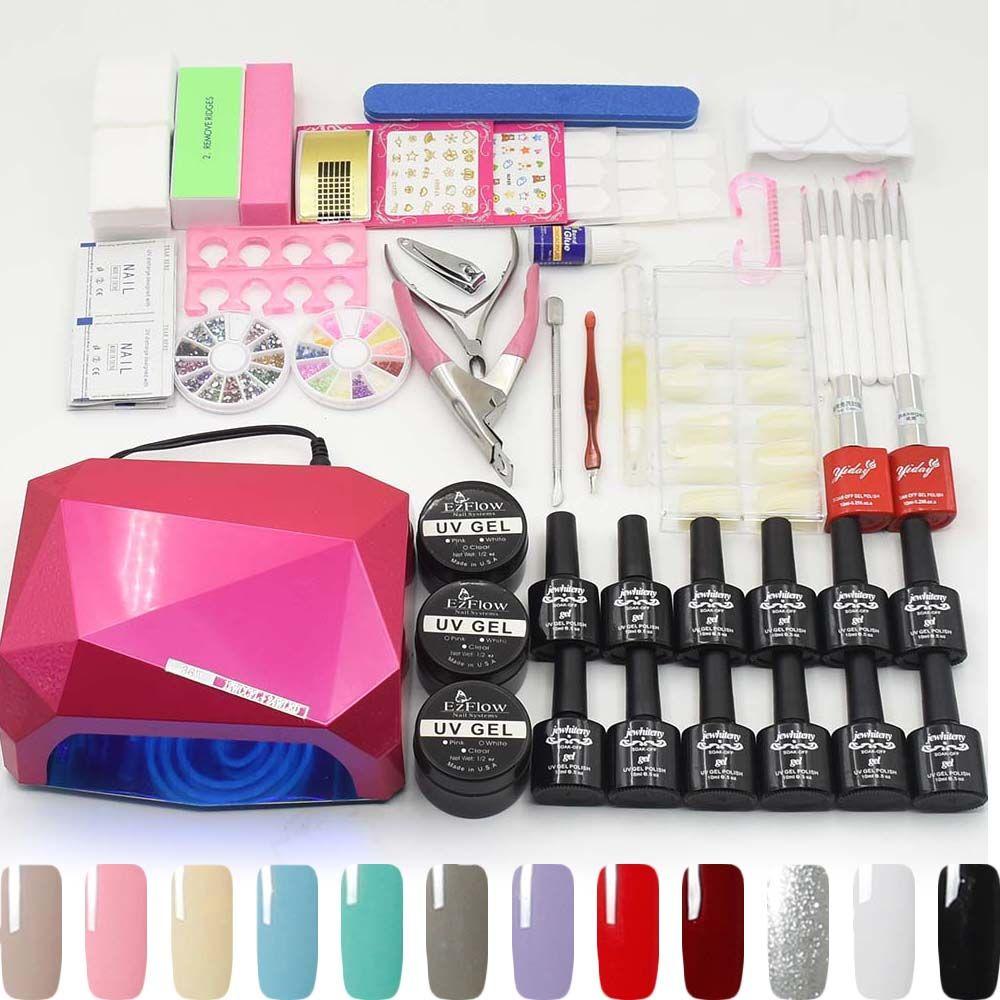 12 color uv gel polish 36W UV LED lamp base gel top coat varnish builder gel manicure nail art tools sets kits nail gel kit
