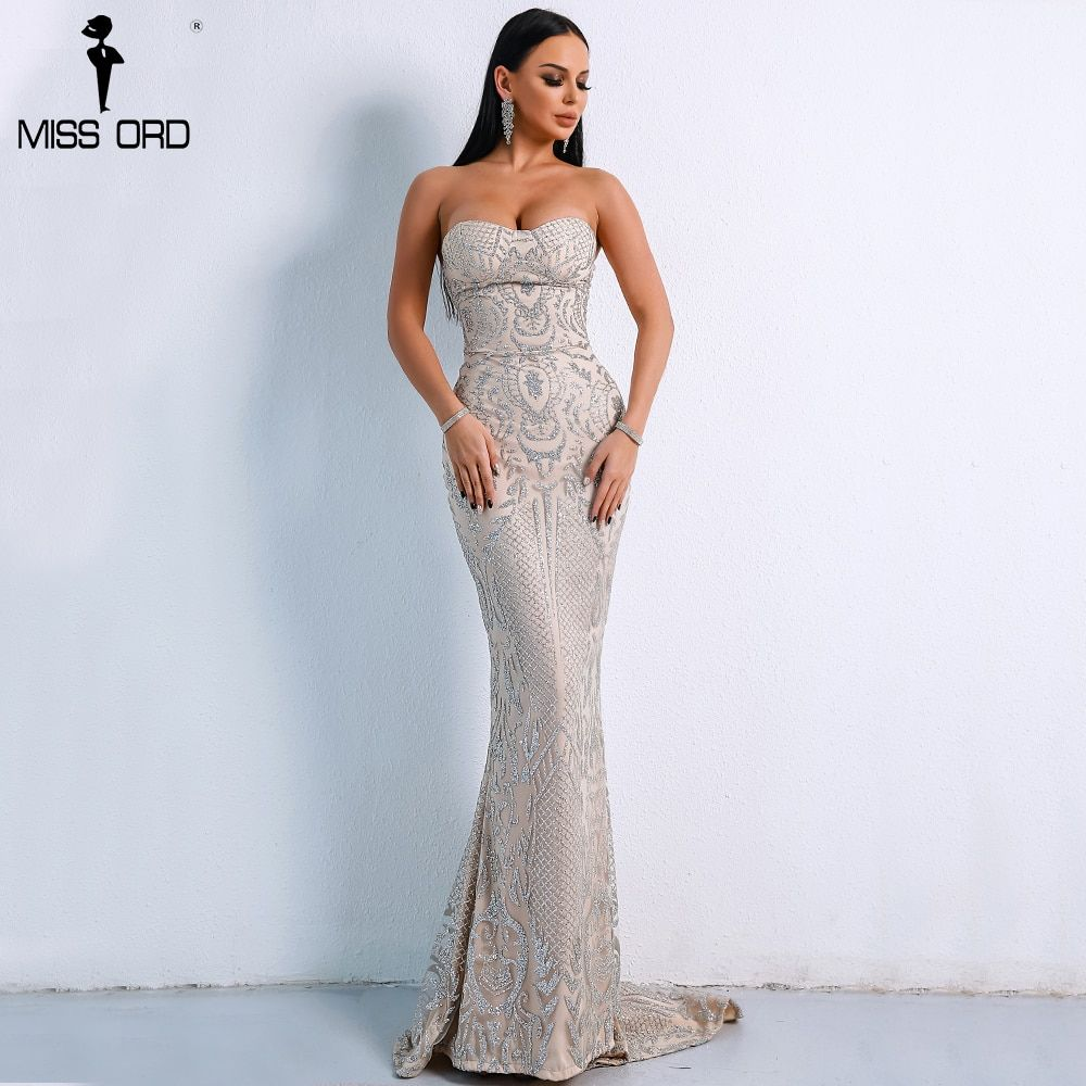Missord 2018 Sexy Elegant Christmas Off Shoulder Glitter Backless Geometry Female Floor-Length Party Dress FT8911-1
