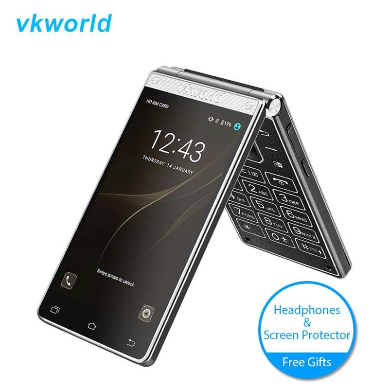 Vkworld T2 Plus 4G LTE Dual Schirmschlüssel Flip-telefon Touch Andorid 7,0 3 GB + 32 GB Clamshell Smartphone 4,2 Zoll Handy 2000 mAh
