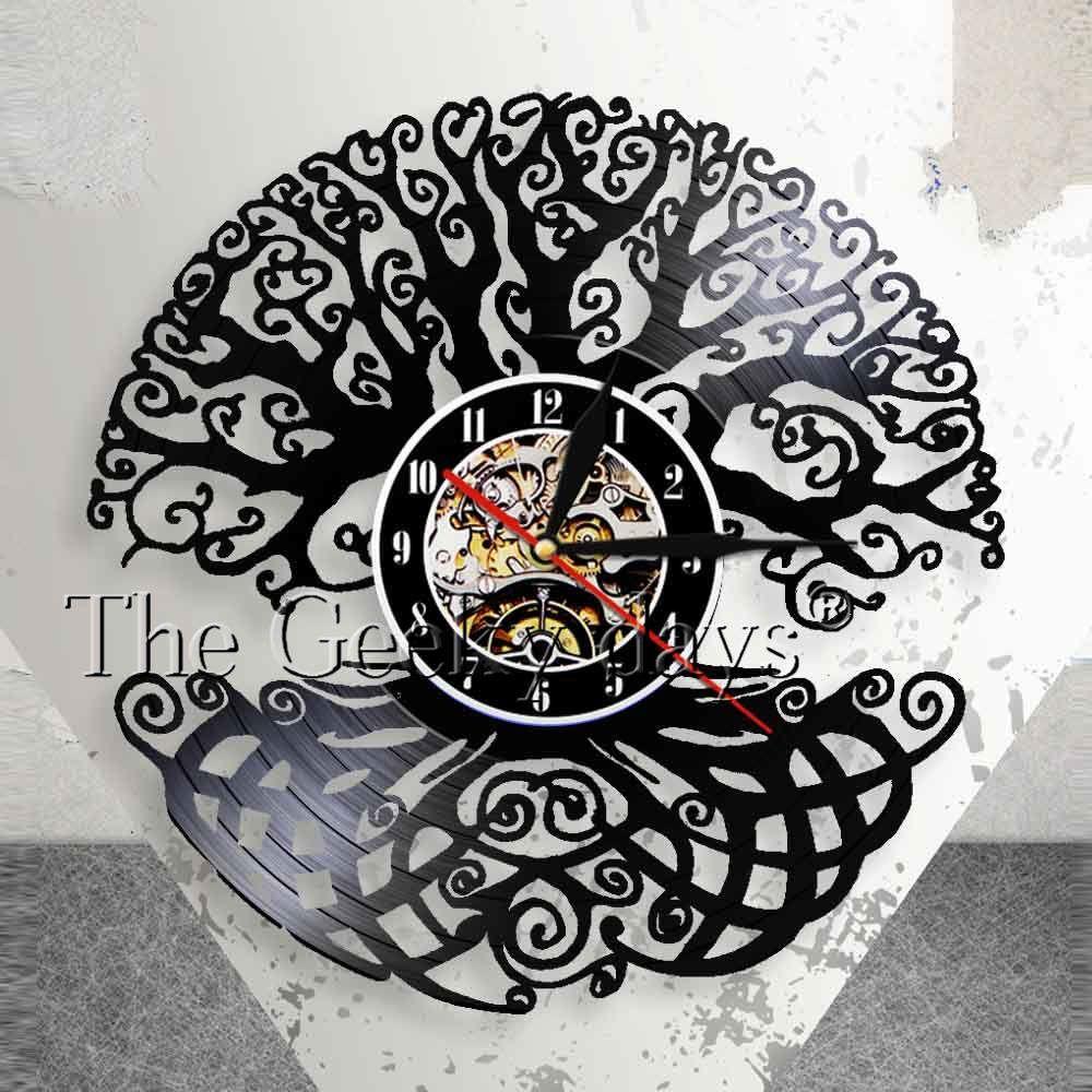 Tree of Life Wall Art Wall Clock Sacred Tree Vintage Vinyl Record Longplay Clock Green Life 3D Silhouette Shadow Wall Clock