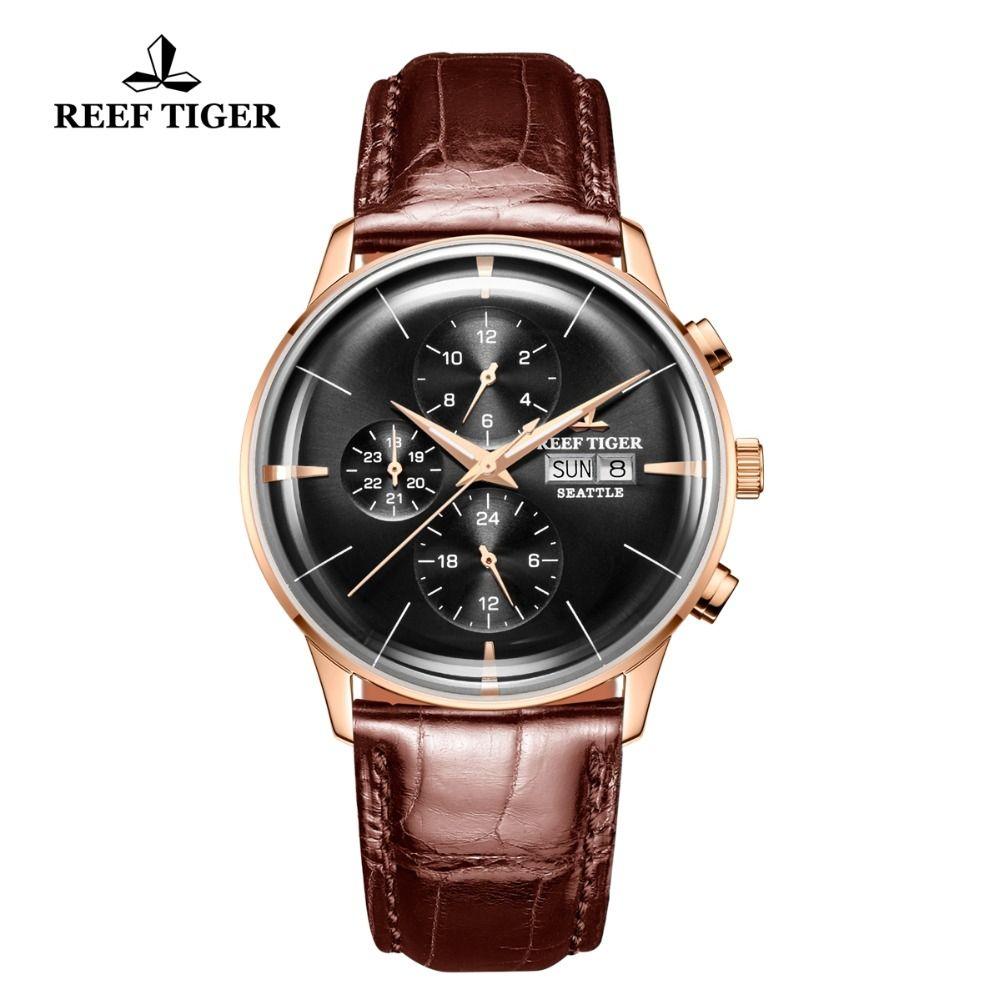 Riff Tiger/RT Luxus Kleid Uhr Männer Multi Funktion Rose Gold Braun Lederband Automatische Uhr Datum Tag RGA1699