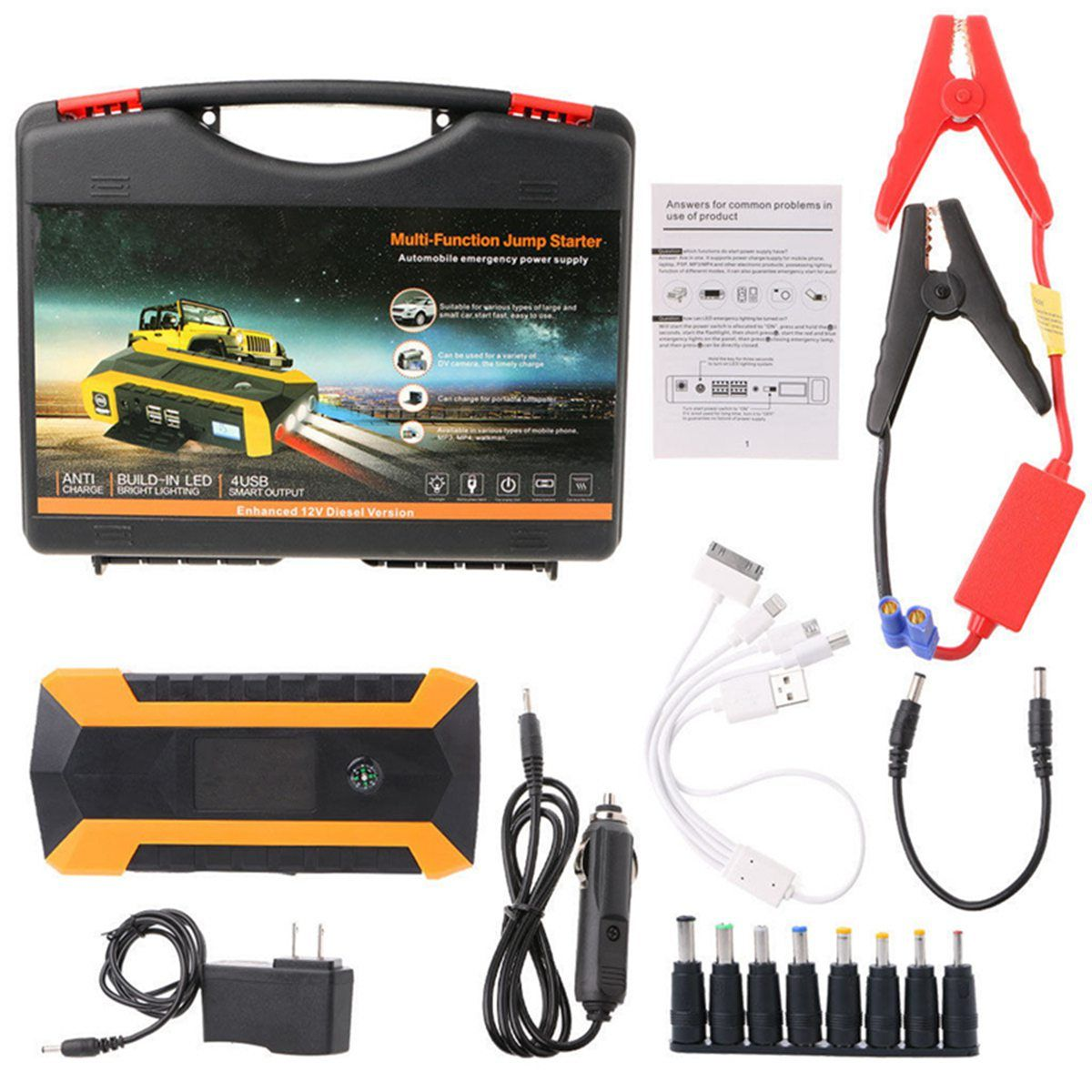 89800mAh Car Jump Starter 12V 4USB 600A Portable Car Battery Booster Charger Booster Power Bank Starting Device Car Starter