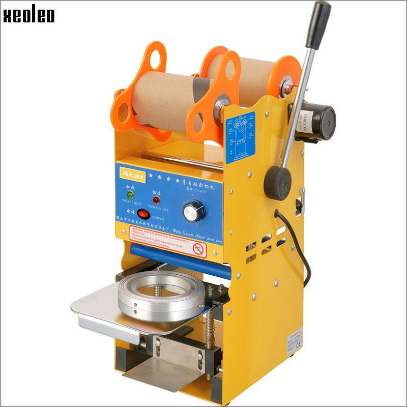 Xeoleo SemiAutomatic Cup sealer Bubble tea machine Cup sealing machine for 9/9.5cm Paper/PE Cup with Temperature adjust US/EU/UK