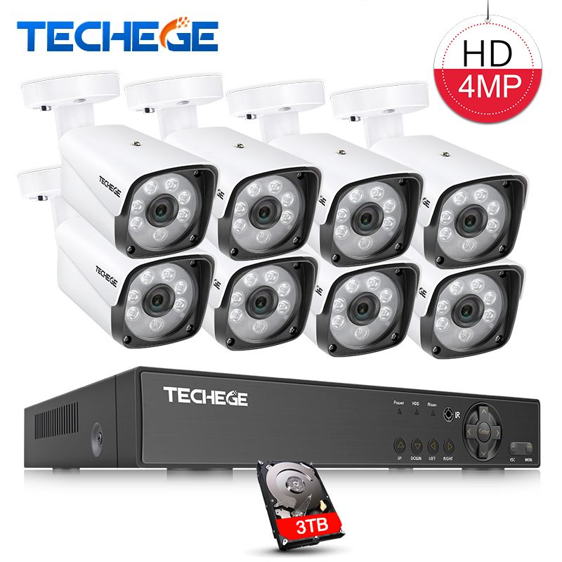 Techege 4MP CCTV System 8CH DVR 1080 p 2 karat Video Ausgang 4MP Metall Wasserdichte Außen AHD CCTV Kamera System XMeye Remote View