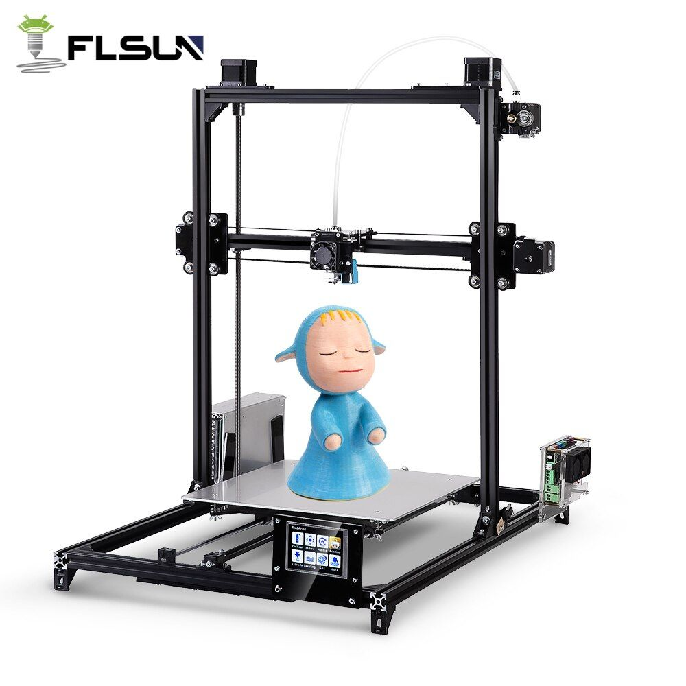 Flsun I3 3d Printer Plus Printing Size Touch Screen Dual Extruder Auto Leveling DIY 3D Printer Kit Heated Bed Two Rolls Filament