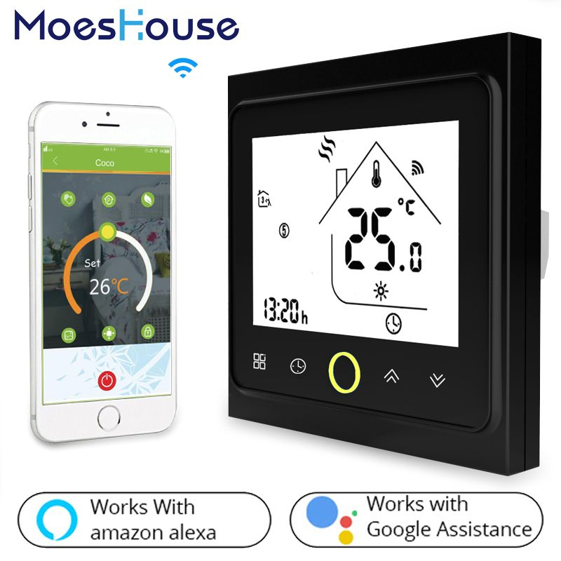 WiFi Thermostat Temperature Controller LCD Touch Screen Backlight for Water floor Heating Works with Alexa Google Home 3A