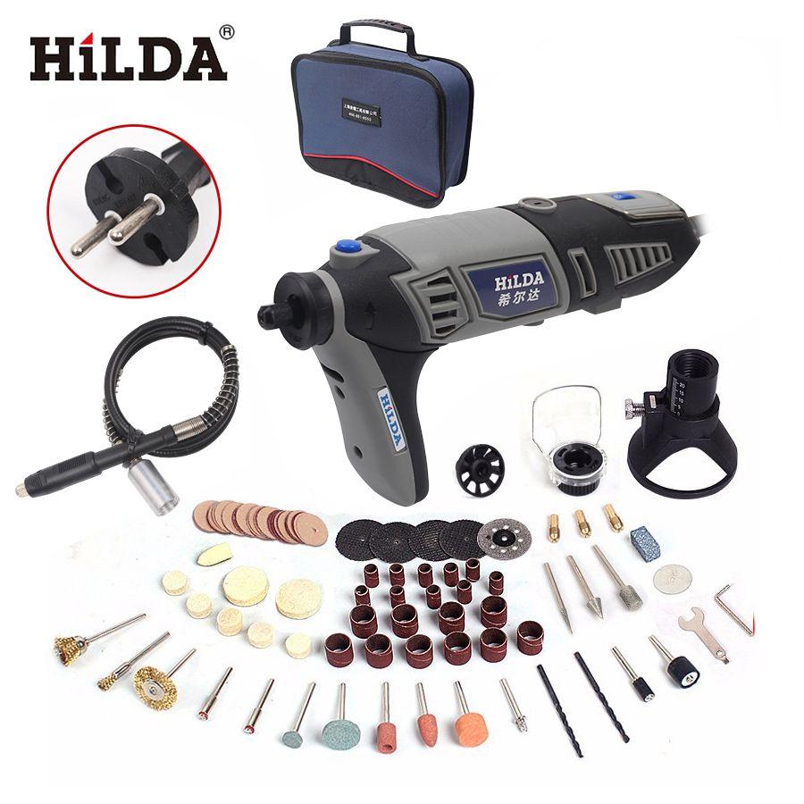 HILDA perceuse Électrique Dremel style Électrique Rotary Power Tool Mini Perceuse avec Arbre Flexible 133 pcs Accessoires Ensemble De Sacs De Stockage