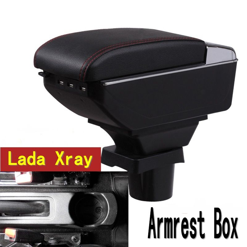 For Lada Xray armrest box central Store content Storage box Lada armrest box with cup holder ashtray USB interface