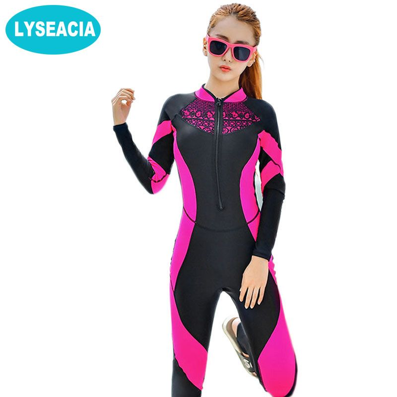 2018 Lace Wetsuit Women Zipper Swimsuit Full Body Jumpsuits Diving suit Rash Guard Wetsuits for Swimming Surfing Sports Clothing