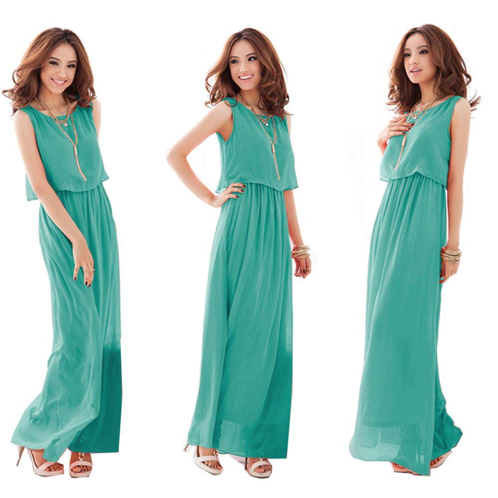 2018 Promover la Calidad de la Gasa de Las Señoras Un Vestido de Gran Tamaño XXXL las mujeres Vestido Largo Del Tobillo de Longitud Vestido Formal de la Gasa Delgada Femenina vestidos