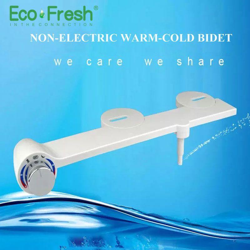 Ecofresh Hot Cold Water Non-Electric Bathroom Toilet Seat Bidet Washlet Sprayer Nozzle Toilet Seat Gynecological Washing shower