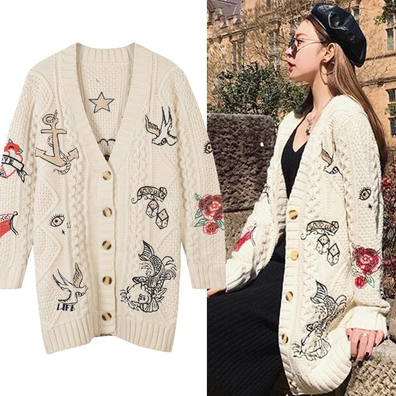 New street V collar embroidery jacket all-match long carp swallow knit cardigan