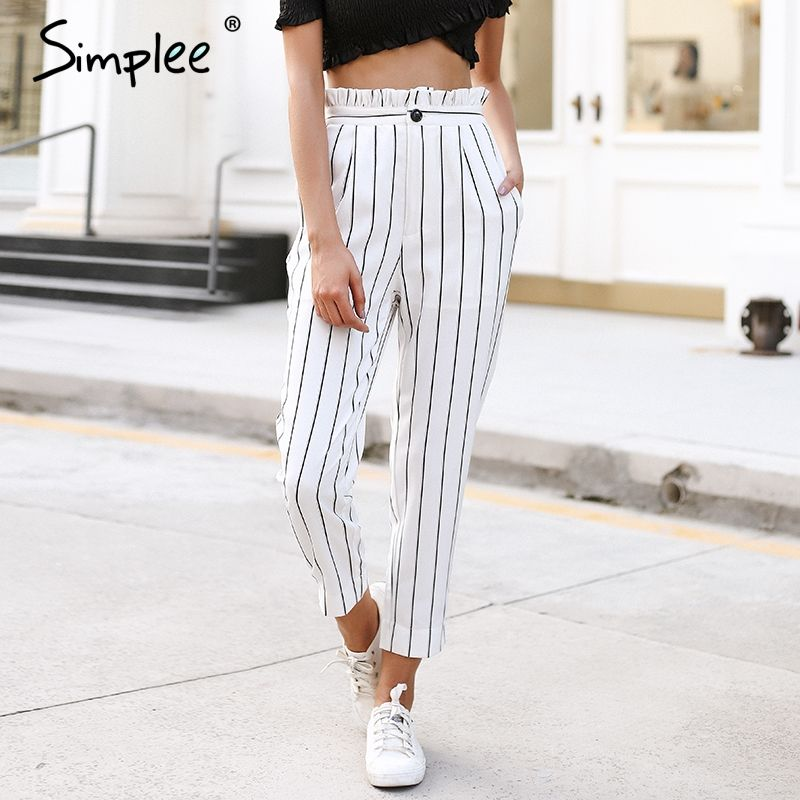 Simplee Streetwear striped harem pants capri Ruffle loose casual pants women 2018 Summer trousers high waist pants bottom