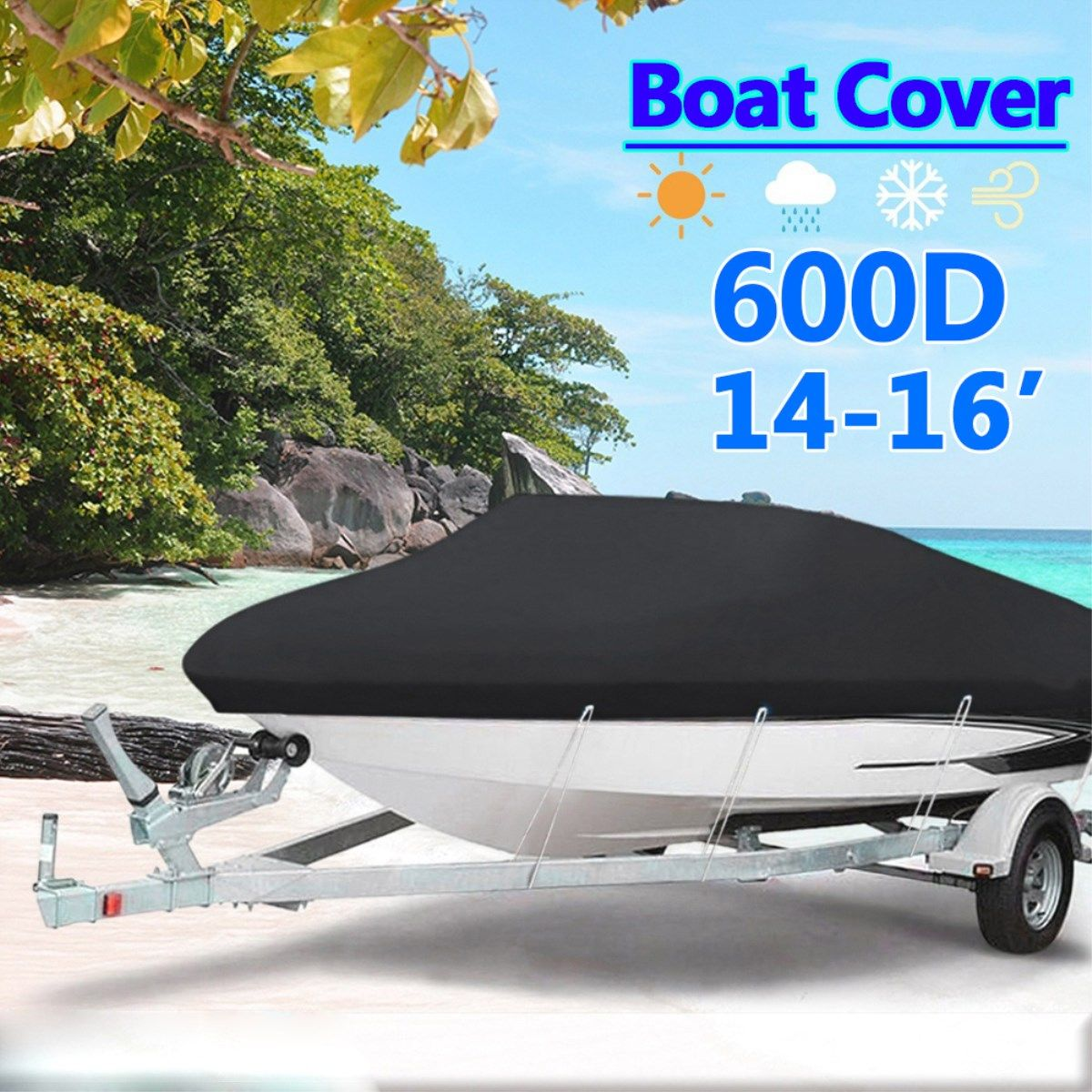 Black Heavy Duty 14-16ft 600D Beam 90inch Trailerable Marine Grade Boat Cover for Yacht Boat Waterproof Anti-UV Boat Accessories