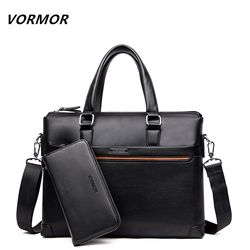 VORMOR 2 Set Handbag Men Messenger Bags PU Leather Man Bags Fashion Male Men's Briefcase Man Casual Shoulder Bag
