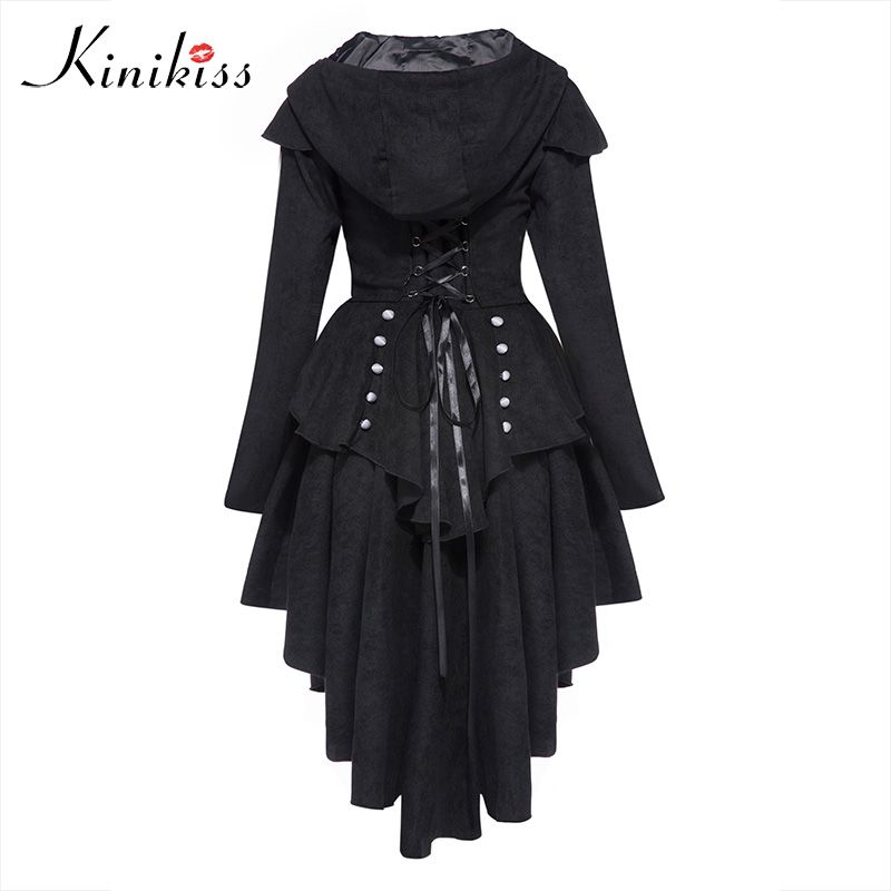 Kinikiss Women Trench Coat 2017 Black Gothic Outerwear Hooded Bow Button Lace Up Vintage Tailcoat Fashion Slim Overcoat