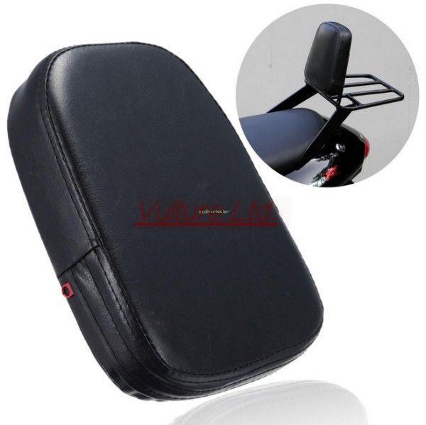 Black Rectangular Backrest Sissy Bar Cushion Pad For Harley Yamaha Suzuki Honda