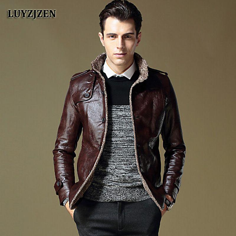 Faux Leather Jacket Men 2017 Autumn Winter Casual Thick Warm Coat Men's Motorcycle Outwear PU Jackets Plus Size Homme 953