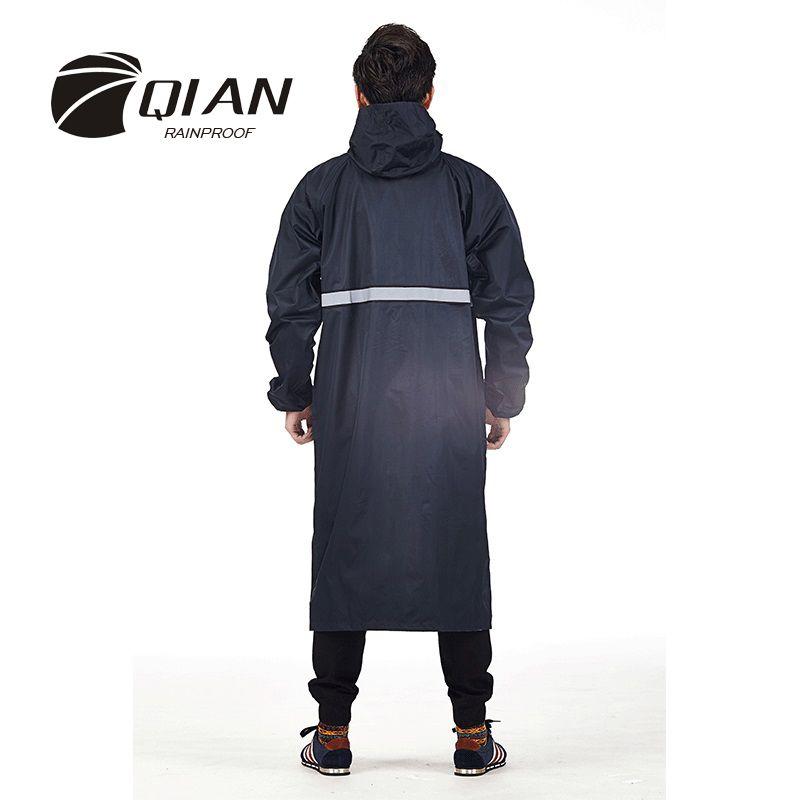 QIAN imperméable à la pluie professionnel adulte extérieur Long imperméable avec capuche plus épais Sfety bandes réfléchissantes conception travail voyage vêtements de pluie