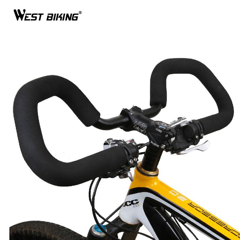 WEST BIKING Cycling Handlebar 25.4/ 31.8*590mm Aluminium MTB Road Bike Bicycle Butterfly Handlebar+ Handlebar <font><b>cover</b></font> Tape