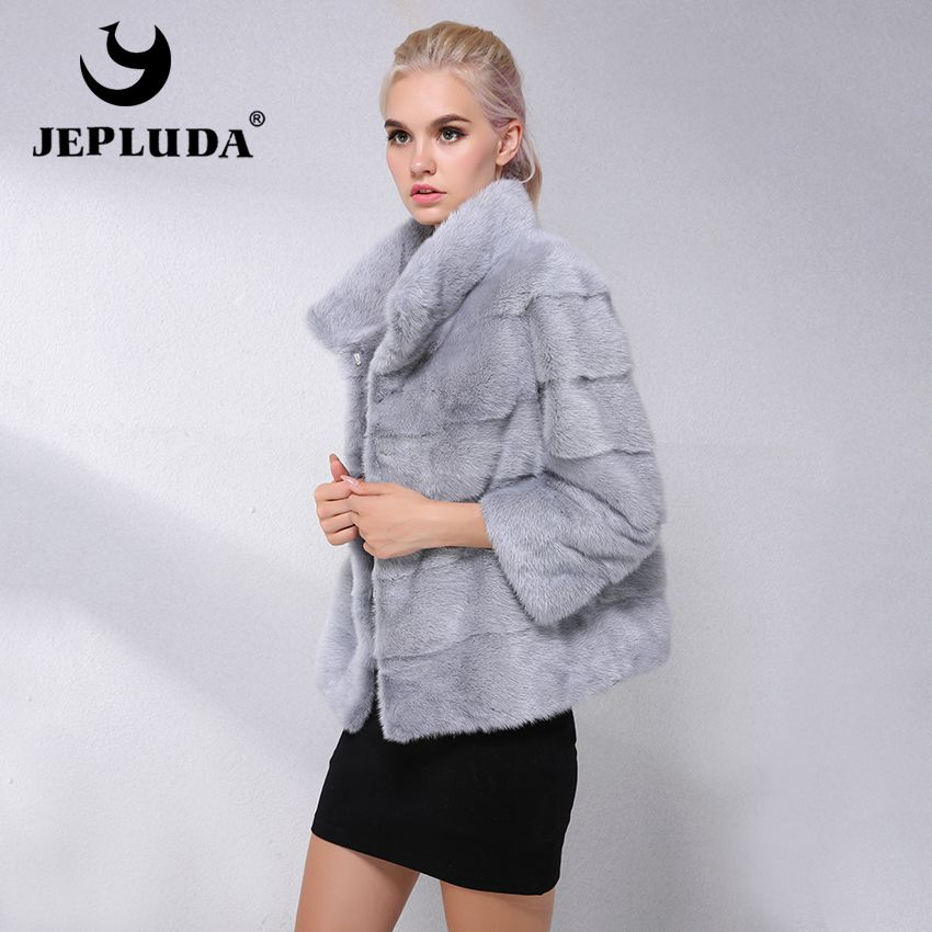 JEPLUDA New Type Natural Real Mink Fur Coat Women Commuting-Leisure Short Real Mink Fur Jacket Women Winter Ladies Real Fur Coat