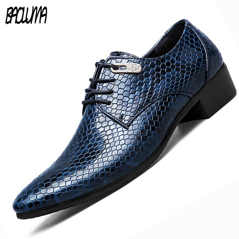 BAOLUMA New Artificial Snake Leather Men Oxford Shoes Lace Up Casual Business Men Pointed Shoes Brand Men Wedding Men Dress Boat