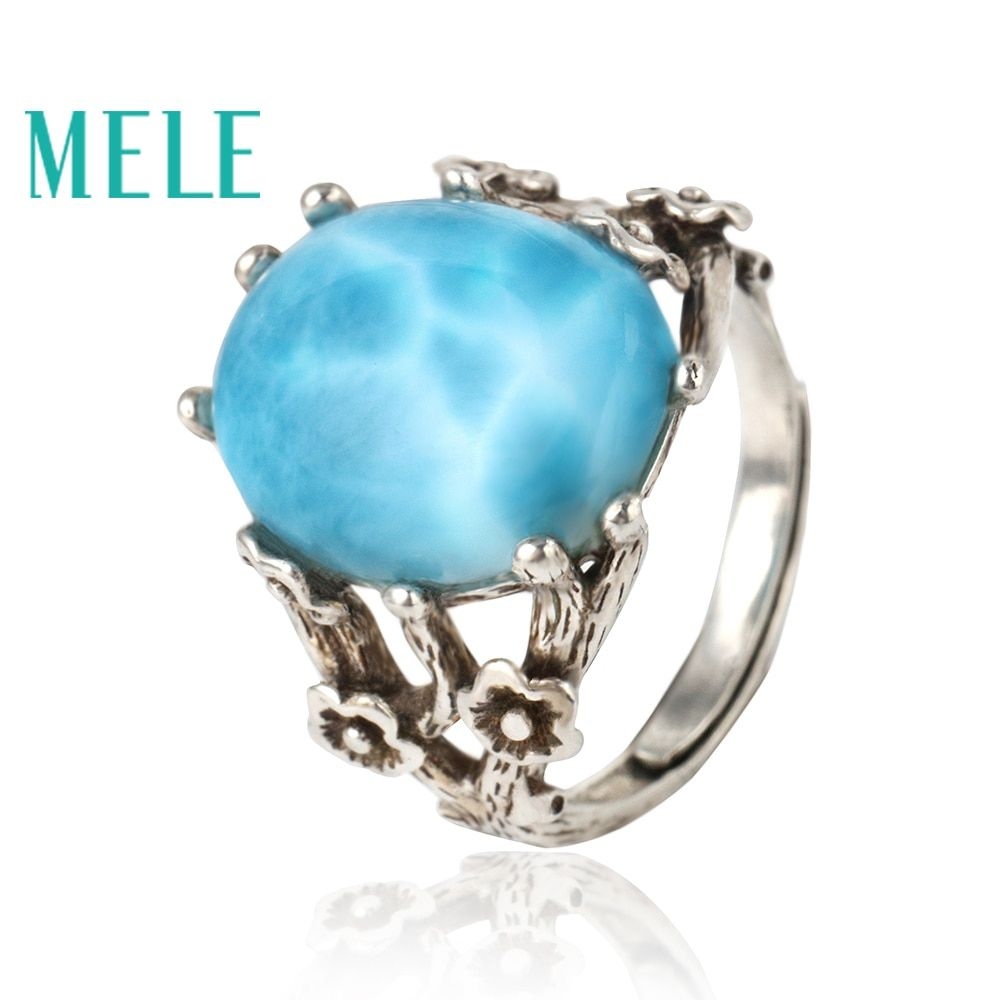 Blue natural larimar silver 925 rings for women,classical oval gemstone jewelry,vintage style with flowers