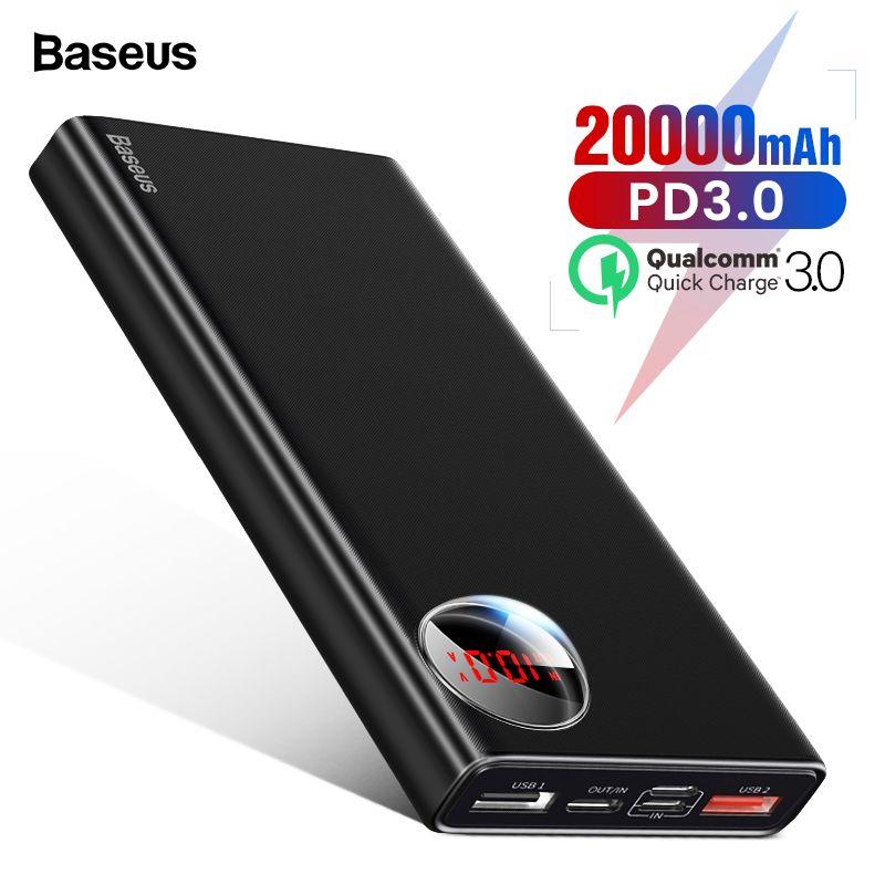 Baseus 20000mAh Power Bank USB C PD Fast Quick Charge 3.0 20000 mAh Powerbank For Xiaomi mi 9 Portable External Battery Charger