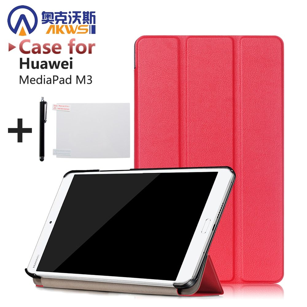 Ultra Slim case Pour Huawei MediaPad M3 8.4 pouce tablet protection en cuir PU smart cover + protecteur film + stylus