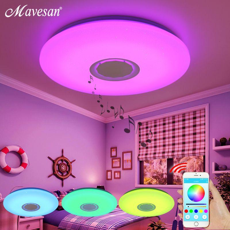 Musique LED plafonniers RGB APP et télécommande plafonnier chambre 25W 36W 52W salon lumière lampara de techo