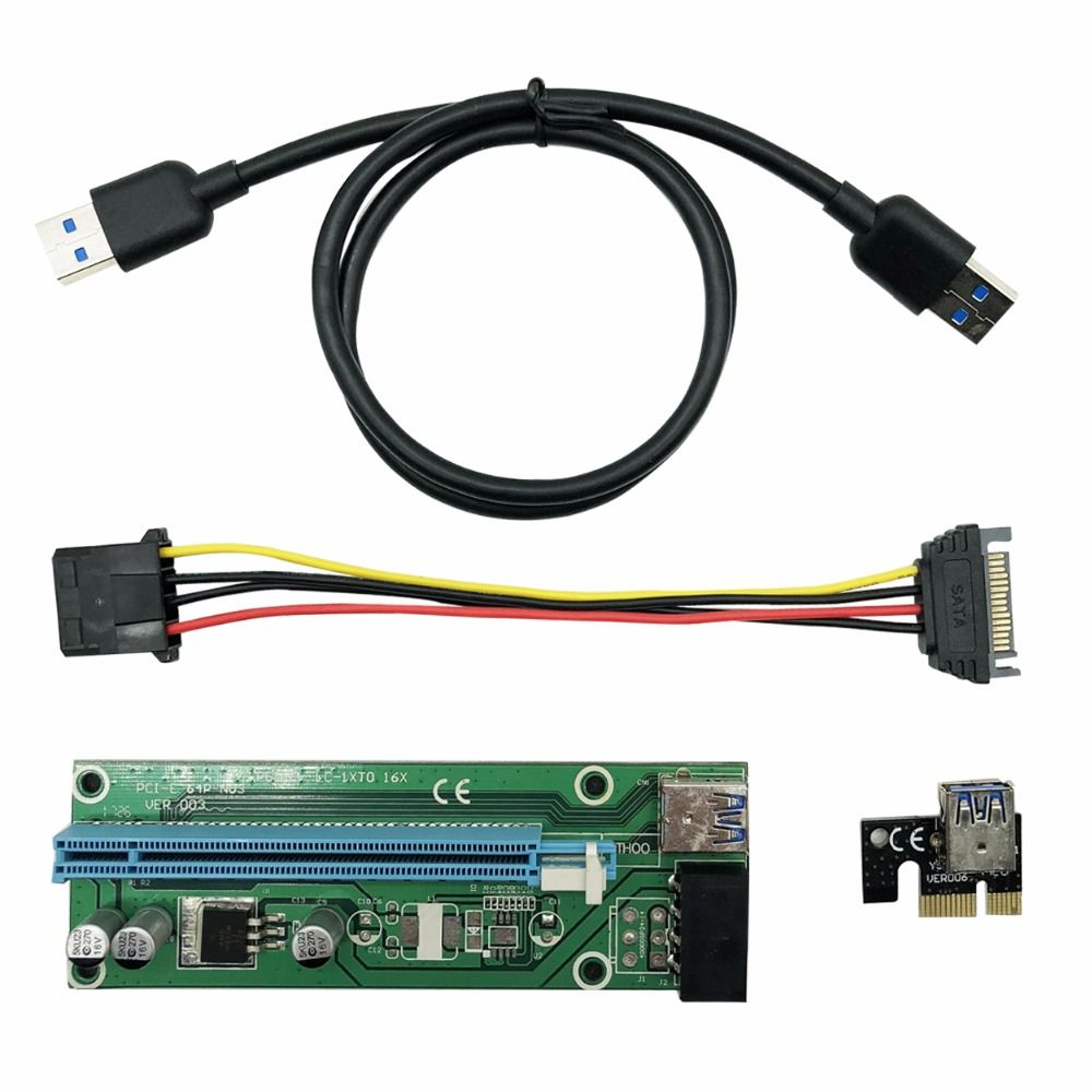 WEYES 0,6 Mt PCI-E 1X zu 16X Riser Card Extender Pci-express-erweiterungs kabel + USB 3.0 Datenkabel/15Pin SATA auf 4Pin Power kabel