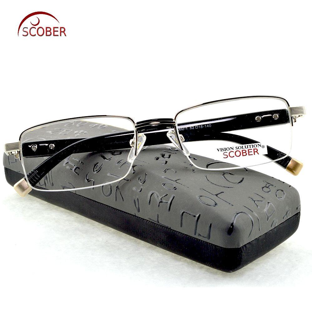 = SCOBER = HOMMES Titane alliage + TR90 Sénateurs Antireflet enduit lecteur lire Non sphérique lunettes de lecture + 0.5 + 0.75 + 1 à + 6