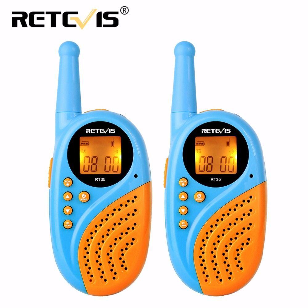 2pcs Walkie Talkie Mini Kids Radio Retevis RT35 0.5W 16/22CH UHF PMR Digital Clock Alarm Clock USB Charge PMR446 Children Gift