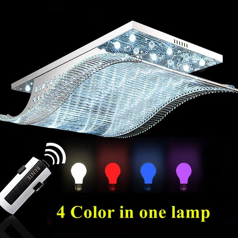 Современные Дистанционное управление LED K9 Хрустальная люстра свет для гостиной Спальня Освещение нержавеющей гладко потолочных светильни...