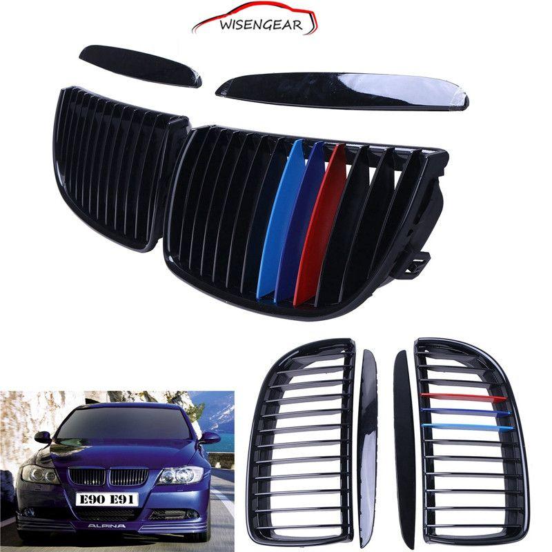 2Pcs Gloss Black M-Color Front Kidney Grille For BMW E90 E91 4D Sedan Touring 2005 - 2008 CAR-P203 C/5