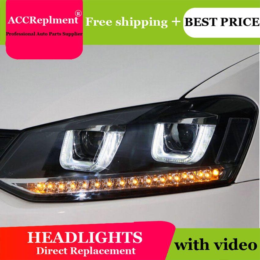 AUTO. PRO Für VW polo scheinwerfer U engel augen 2011-2015 Für VW polo LED licht bar Q5 bi xenon objektiv Led-lampe auto styling projektor