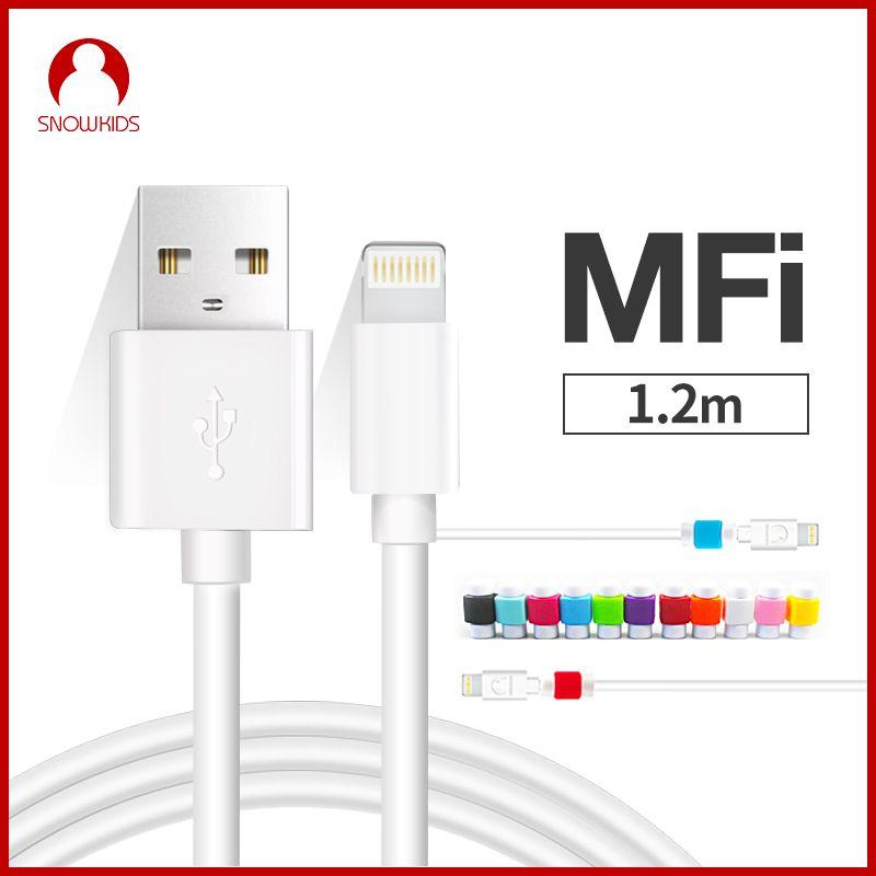 Snowkids MFi pour câble Lightning vers USB 2 pcs/lot pour iPhone X XR XsMax 8 7 6 5 câble de chargeur iOS12 cadeau protecteur Anti-coupure