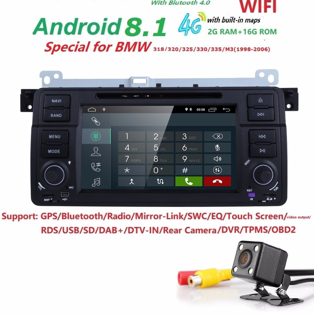 Android 8.1 2G+16G Quad core HD touch screen 1 DIN Car DVD GPS Radio stereo For BMW E46 M3 X5 3G GPS dvd player Autoaudio Camera