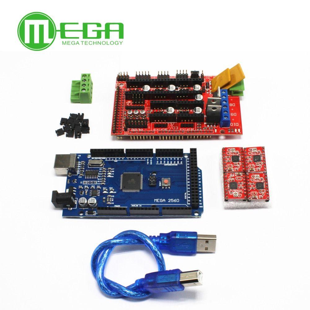 Mega 2560 R3 + 1 pcs RAMPES 1.4 Contrôleur + 4 pcs A4988 Stepper Pilote Module pour 3D Imprimante kit